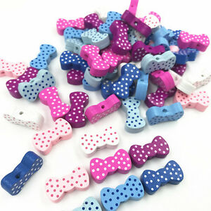 50pcs-Random-Bowknot-Shape-Wooden-Beads-Jewelry-Accessories-Baby-Handmade-Crafts