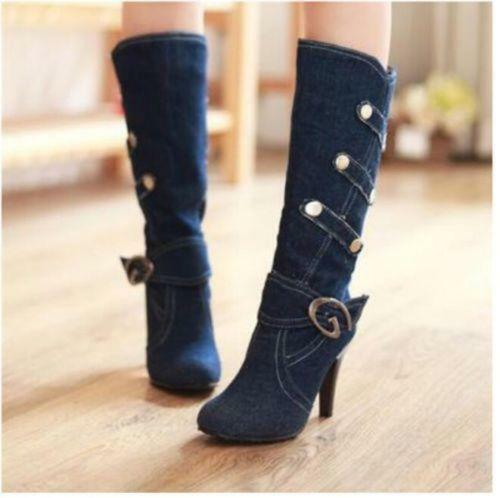 Womens Pointed Toe Straps Mid-Calf Knight Boots High Heel Denim shoes Plus Size