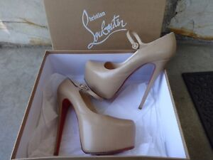 huge discount e9ca1 dc2d3 Details about Christian Louboutin Lady Daf Nude Mary Jane 40.5