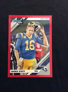 2019-Panini-Donruss-Jared-Goff-Red-Press-Proof-Variation-138V