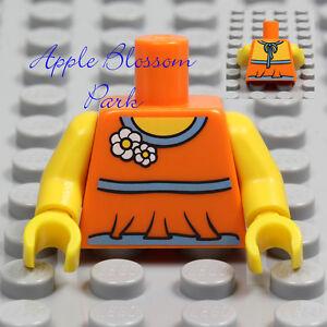 LEGO 5 x Torsos Female Girl Flower Top Dress Minifigure Torso Bundle Orange