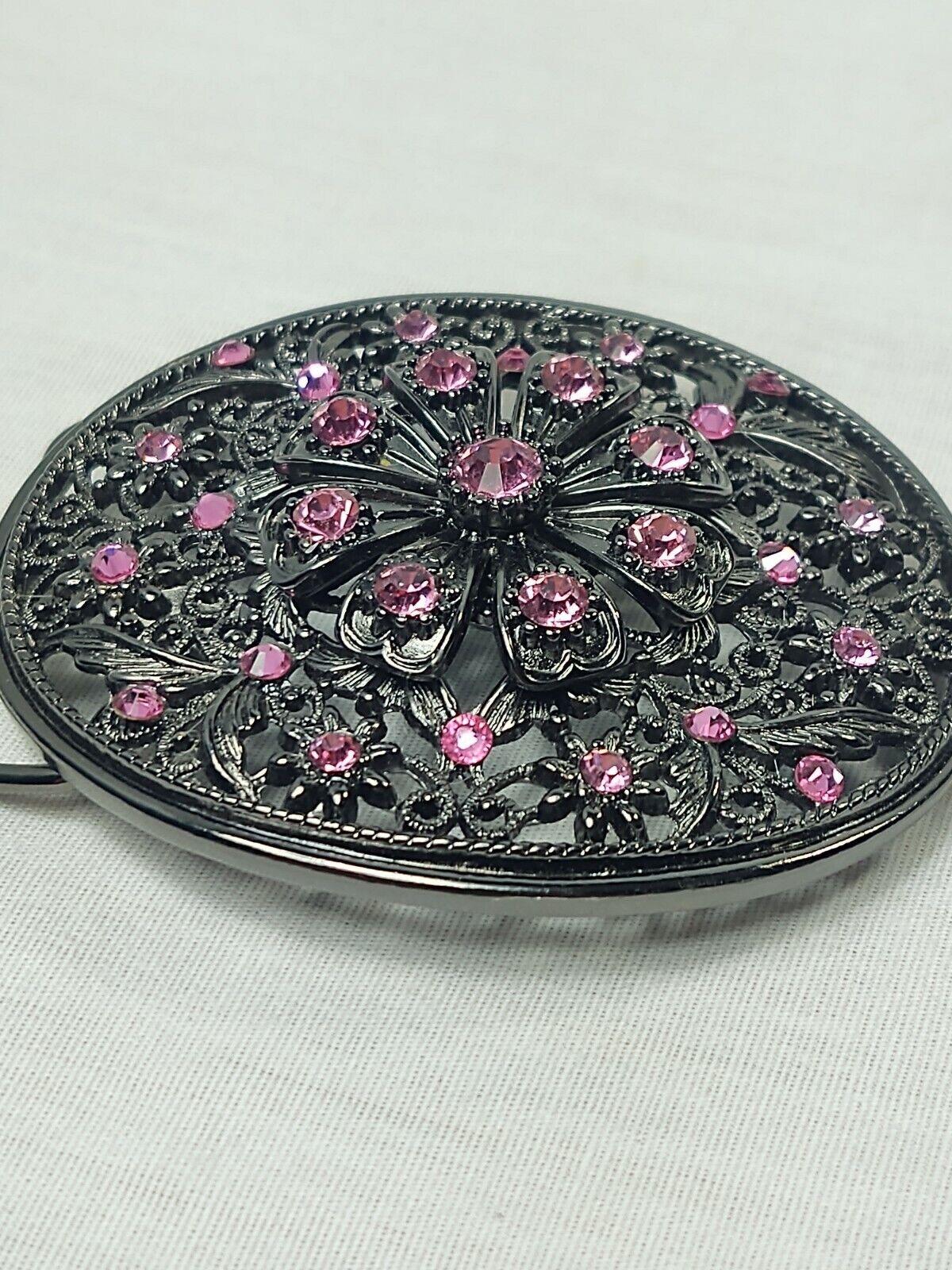 Women's Belt Buckle black with pink rhinestones see through