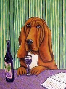 bloodhound dog art PRINT poster gift JSCHMETZ modern folk 13x19 red wine