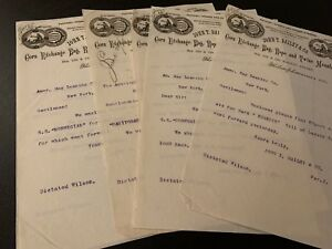 Vintage-NYC-Business-Letters-1885-Purple-Typed-Ink-On-Onion-Paper-Great-Logo