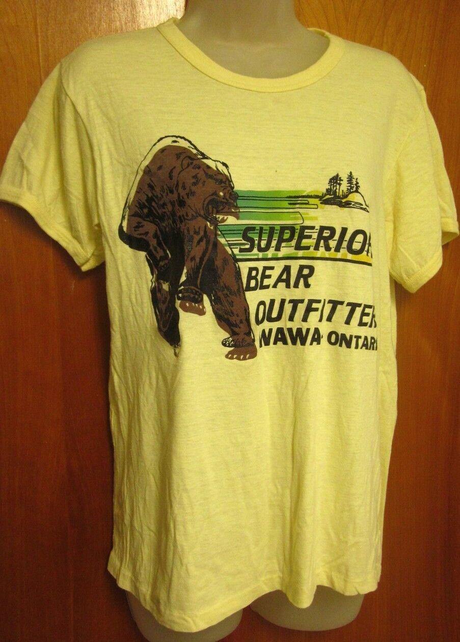 SUPERIOR BEAR OUTFITTERS lrg T shirt Wawa vtg thin tee Ontario bear paws 1980s