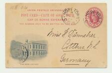 """CAPE OF GOOD HOPE TO GERMAN 1899, HOPE TOWN TO COTTBUS """" TOWN HOUSE"""" 1d CARD"""
