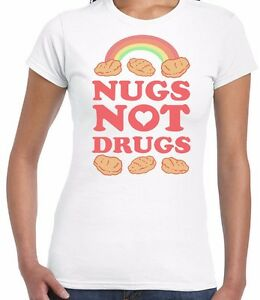 039-Nugs-Not-Drugs-039-Funny-Parody-Ladies-Fitted-T-Shirt-Top-Tee-Gift-Food