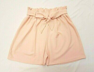** Nuovo 2019 Look Crema Paperbag Plus Size & Curva Vita Alta Pantaloncini Sacchetto Di Carta **-