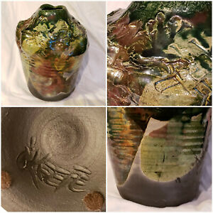 "O'Keefe Raku Pottery Vase: Green & Copper Glazes: Hand Thrown Ribbed 7 1/4"" x 5"""