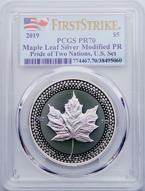 2019 $5 Canadian Silver Maple Leaf Modified Proof Pride of Two Nations PR70 FS