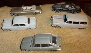5 Vintage Dinky Toys DieCast Car 1955 CHRYSLER, 403 PEUGEOT, RENAULT R 16