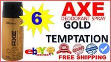 6 AXE Deodorant Bodyspray Men Body Spray 150mL (Lot of 6 Cans) GOLD TEMPTATION