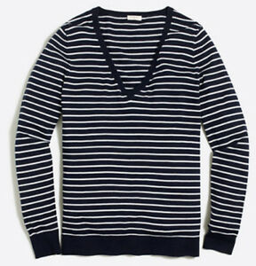 J-Crew-Factory-NEW-Cotton-Striped-V-neck-Sweater-Navy-Size-XL-NWT-54-50
