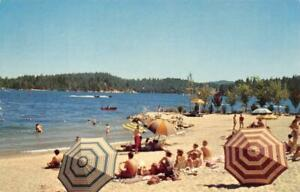 RIM-O-039-WORLD-LAKES-Lake-Gregory-Arrowhead-Big-Bear-Beach-Scene-Vintage-Postcard