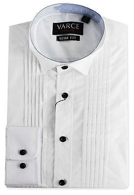 VARCE - MEN'S SLIM FIT WINGTIP COLLAR PLEATED FORMAL DRESS SHIRT