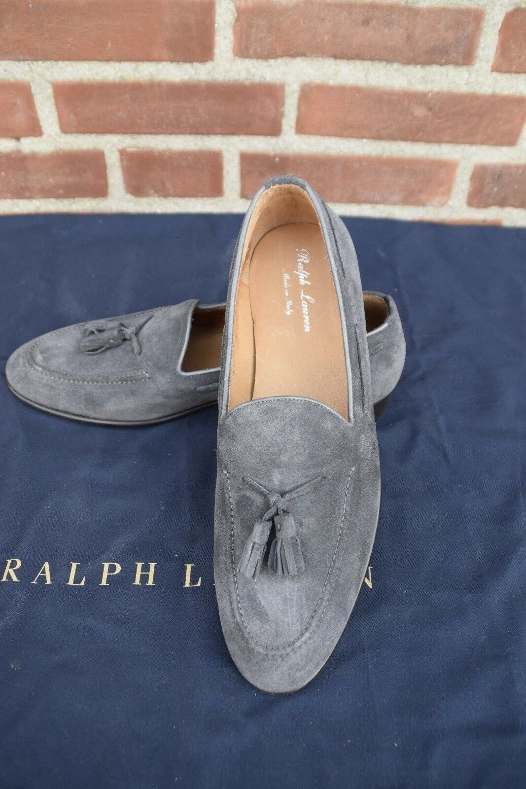 Ralph Lauren Purple Label Men's Italian Tassel Chessington Suede Loafer Charcoal
