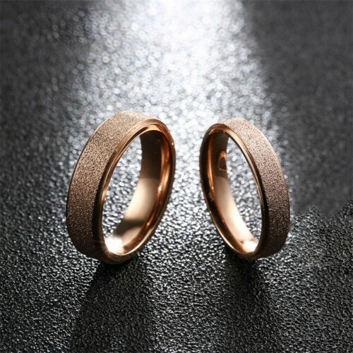 Frosted Man Women Personality Simple Stainless Steel Rings Rose Gold Silver Ring
