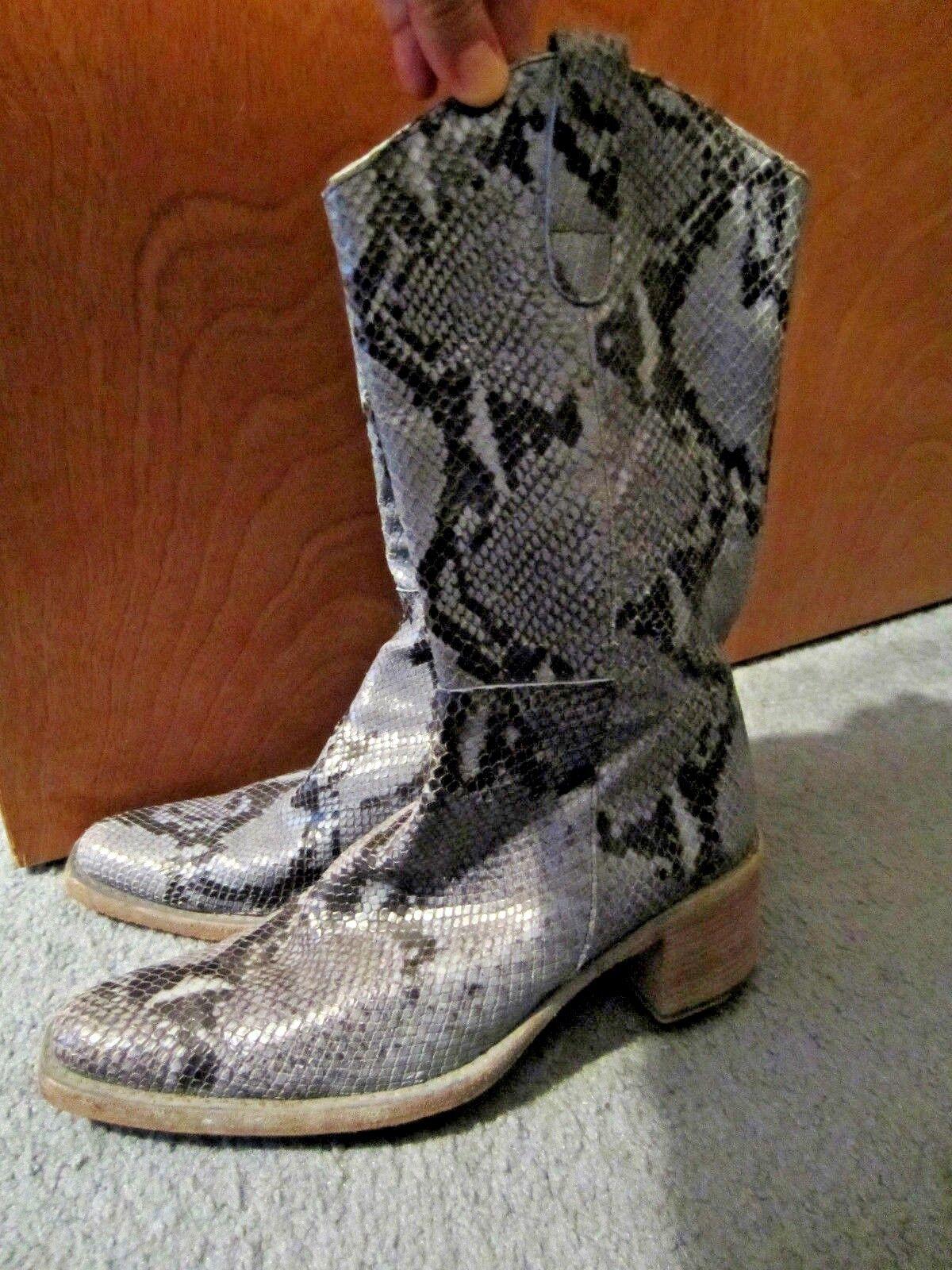 vintage snakeskin mid-calf boots  Blau /schwarz Spain by Hype sz 8 M stacked heel
