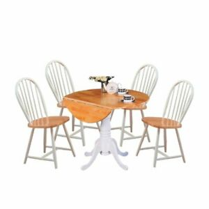 Swell Details About 5 Piece Cottage Style Dining Set With Dining Chairs And Dining Table In White Beutiful Home Inspiration Truamahrainfo