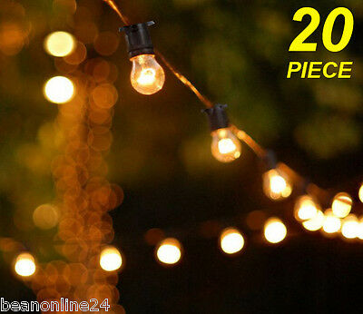 20 Piece Clear Festoon / Party String Light Kit 20M - Bold Vintage Retro Style