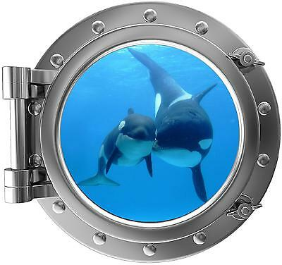 "12"" PortScape Instant Sea Window Killer Whale 1 Wall Decal Sticker Mural Graphic"