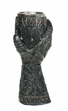 Medieval Knight Wine Goblet Stainless Steel Rim Red Gem