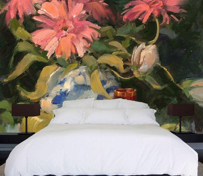 3D pink bluemenvase 577 Tapete Tapeten Mauer Foto Familie Tapete Wandgemälde DE