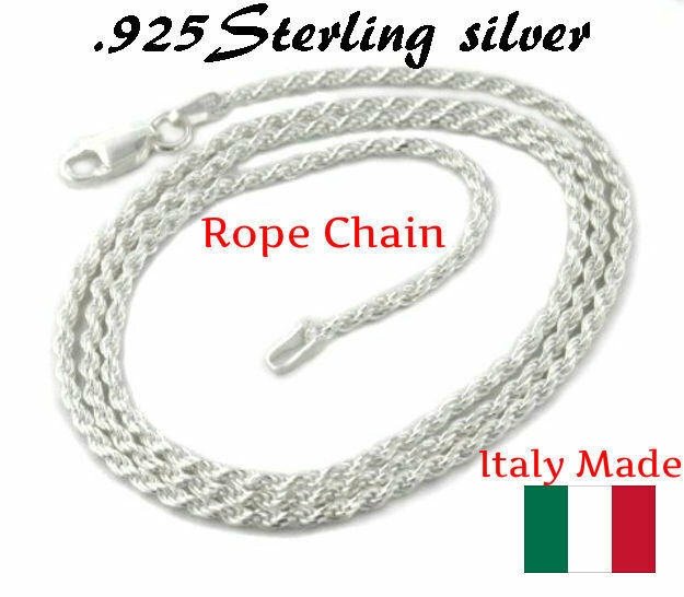 925 Silver Sterling Chain Necklace Italy Real Solid Jewelry All Sizes Rope Chain