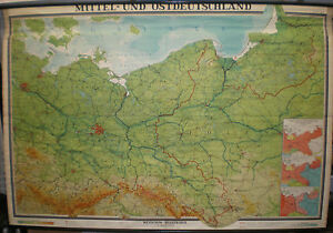 Karte Ostdeutschland.Details Zu Schulwandkarte Wandkarte Karte Map Mitteldeutschland Ostdeutschland 242x165 1955