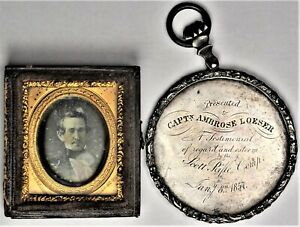 1857 Captain Ambrose Loeser Medal from the Scott Rifle Company & Daguerreotype