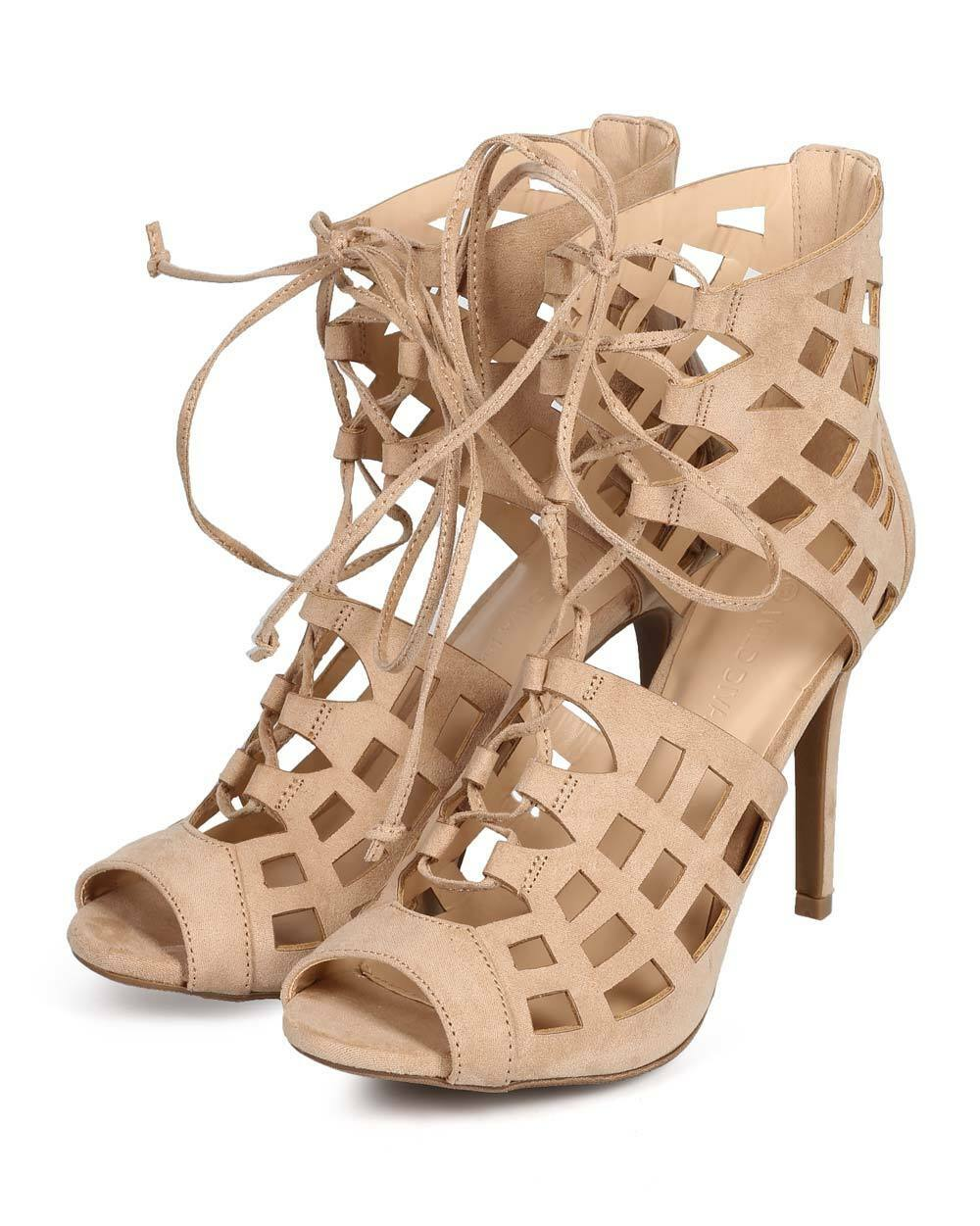 New Suede Women Wild Diva Berlin61 Suede New Peep Toe Gilly Tie Hollow Out Stiletto Sandal b28d7c