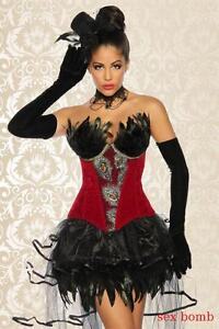 Burlesque S Corsetto Completo Pezzi m Sexy Gonna 2 xl 44 42 Set l Piume 46 40 Xd5qBwtt
