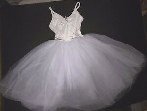 NWT-White-ROMANTIC-BALLET-COSTUME-VELVET-Tulle-Organdy-long-rhinestonepin-Cami