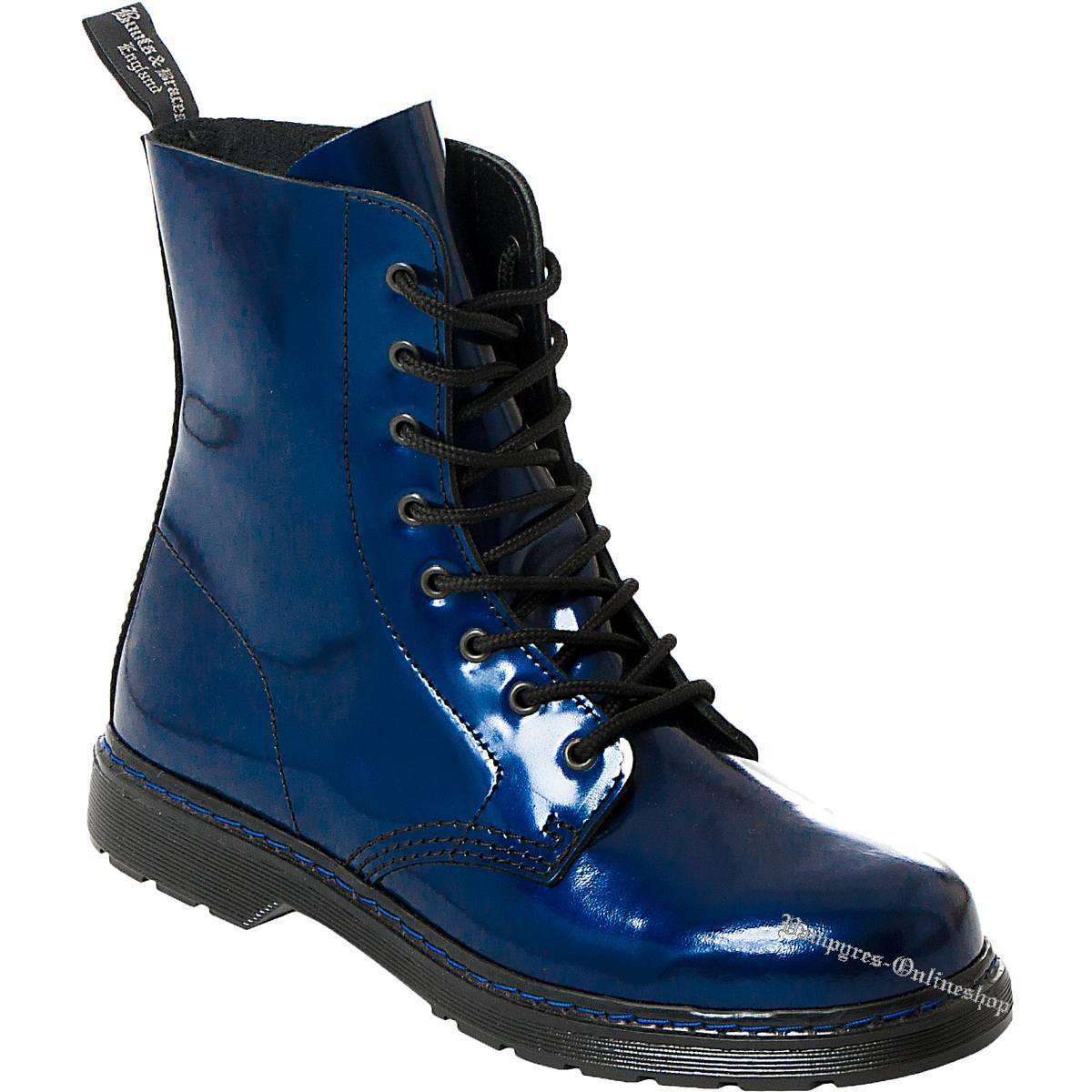 botas And Braces Easy Stiefel 8-Loch Blau Metallic Leder Stiefel Easy Zapatos Azul Bleu Blu 878e6e