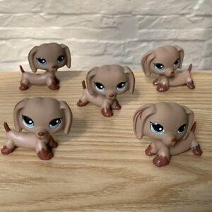 5Pcs-Littlest-Pet-Shop-Lot-LPS-Puppy-Dachshund-Dog-Blue-Eyes-animal-figure-Toy