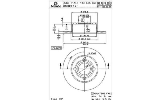 BREMBO Juego de 2 discos freno 245mm AUDI 80 CABRIOLET 100 COUPE 90 08.4874.14