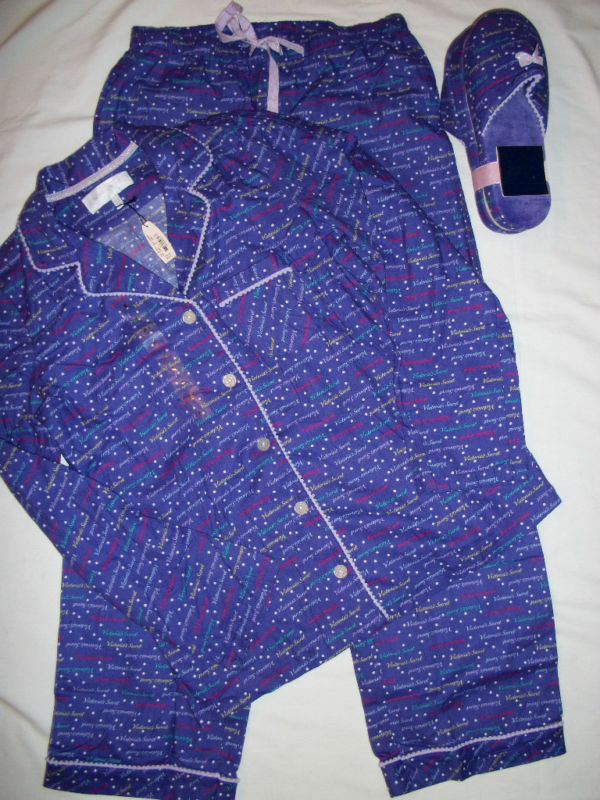 NWT Victoria's Secret Warm & Cozy Flannel Logo PJ Set Shirt Pants S + Slippers