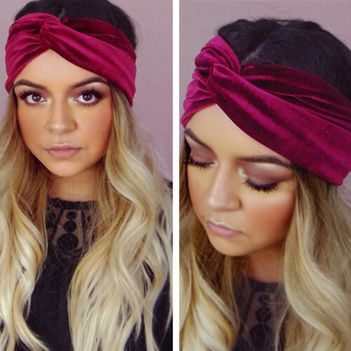 Women Multicolor Velvet Turban Headband  Hairband Twist Crossed Sports Headwear