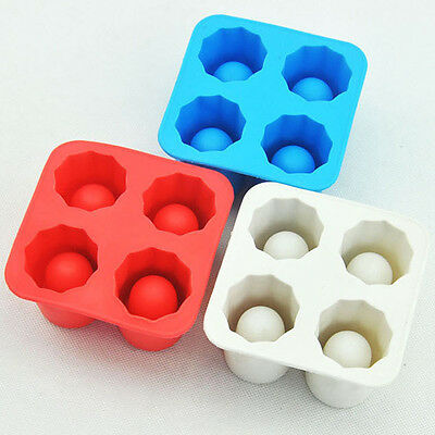 New 4-Cup Ice Cube Shot Silicion Shooters Glass Freeze Molds Tray Party Moulds