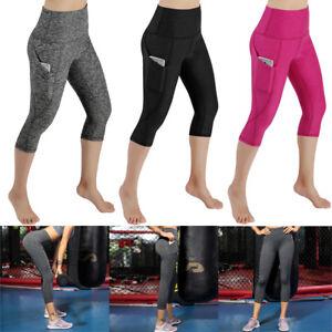 NEW-Womens-High-Waist-Yoga-Pants-Cropped-Pocket-Fitness-Sports-Capri-Leggings-FM
