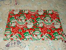 VTG MERRY CHRISTMAS WRAPPING PAPER GIFT WRAP SNOWMEN ADORABLE MCM 1970