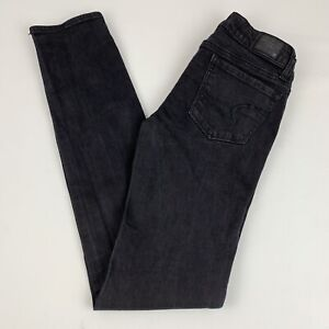 American-Eagle-Skinny-Jeans-Women-039-s-Size-0-Super-Stretch-Black-Low-Rise