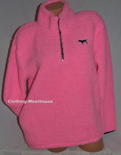 Victoria/'s Secret PINK Sherpa Quarter Zip Pullover Sweatshirt Black Logo S NEW