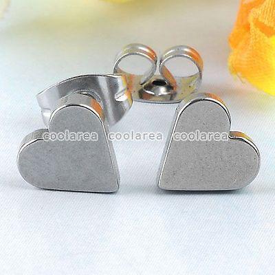Pair Stainless Steel Love Poker Heart Mens Womens Ear Stud Earring Punk Jewelry