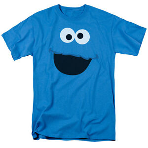 Sesame-Street-COOKIE-MONSTER-FACE-Licensed-Adult-T-Shirt-All-Sizes
