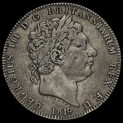 1819 George III Milled Silver LX Crown, GF