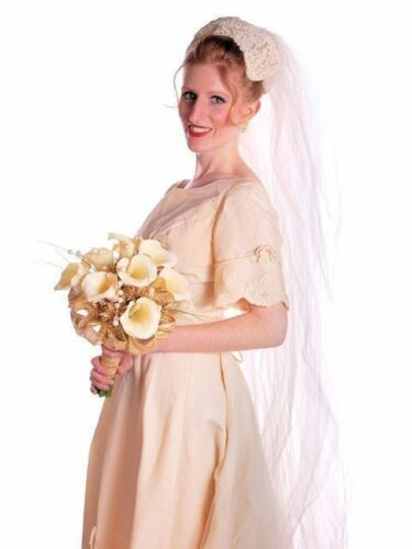 Vintage Wedding Veil Lace Headpiece 1950s 100 Inc… - image 1