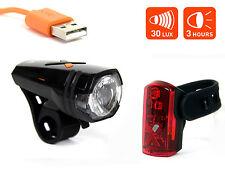 Fahrrad USB Akku Beleuchtungsset AXA Greenline 30 Lux LED Scheinwerfer Rücklicht