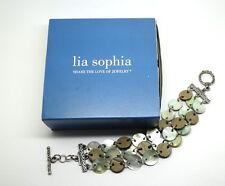 Designer LIA SOPHIA MOTHER of PEARL Silver Toned Disc & Ring Rolo Chain Bracelet