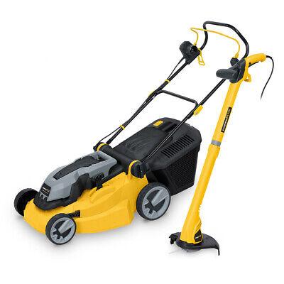 "Powerplus 16"" 420mm Electric Rotary Lawn Mower 1600W Garden 250W Grass Trimmer"